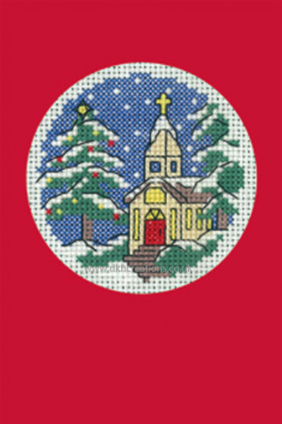 Church Christmas Greeting Card Red Cross Stitch Kit